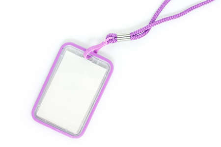 Blank badge with purple neckband. on white background.
