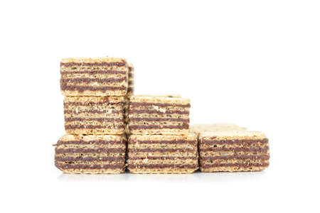 stackable: wafer chocolate pile  stackable dessert on white background