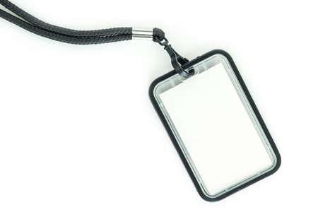 Blank badge with black neckband. on white background.