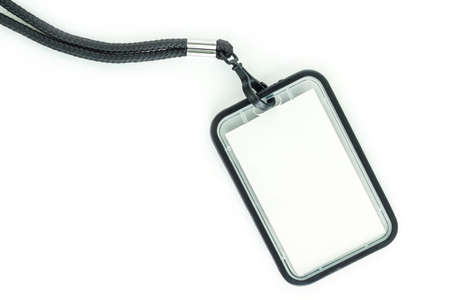neckband: Blank badge with black neckband. on white background.