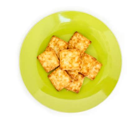 craker on plate on white background.
