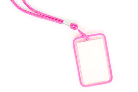 Blank badge with pink neckband. on white background.