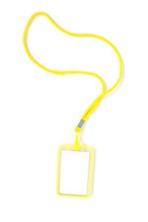 neckband: Blank badge with yellow neckband. on white background.