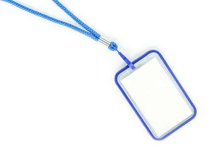 neckband: Blank badge with blue neckband. on white background. Stock Photo