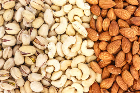 mix almond and pistachio and cashew full background