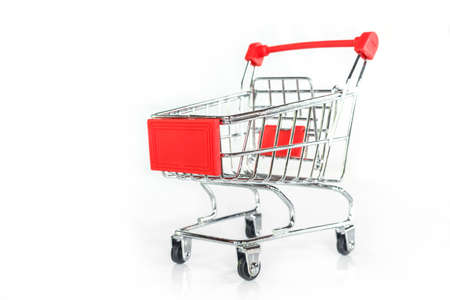 red shopping cart on white background.