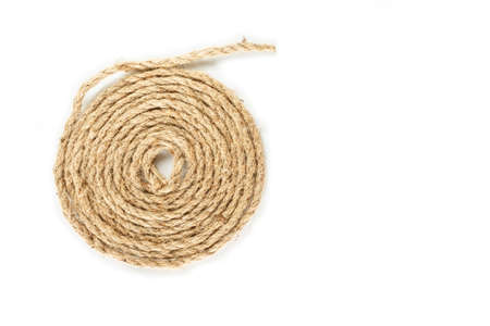 rope coil roll on white background.
