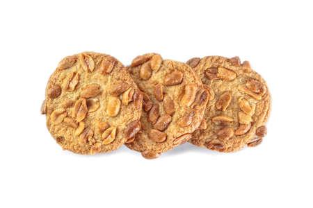 peanut cookie on white background. Stok Fotoğraf