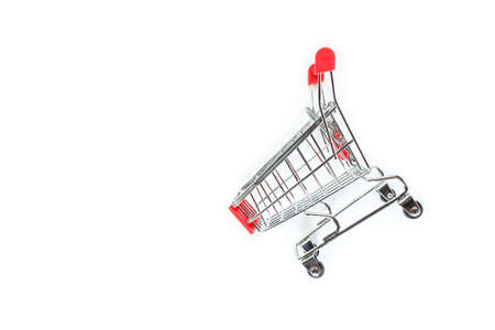 red shopping cart top view on white background.