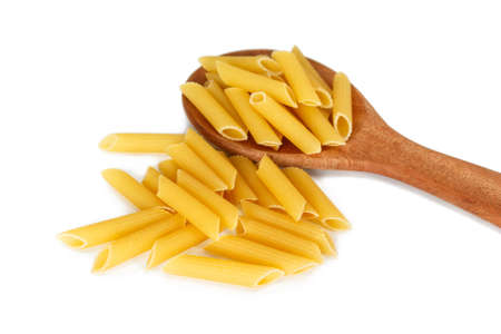 dry pasta penne Italian food on white background.