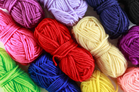 yarn many color top view on texture background. Stok Fotoğraf