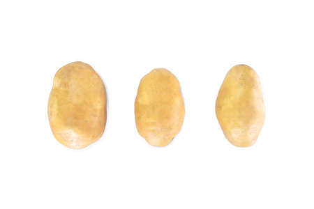 three potato top view on white background.