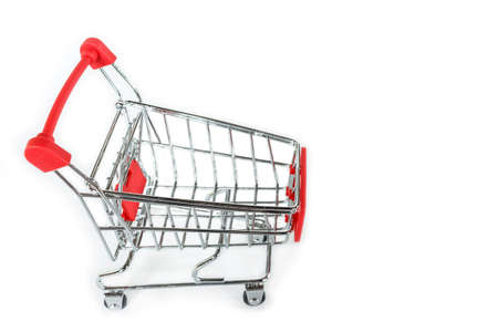 red shopping cart on white background. Stok Fotoğraf