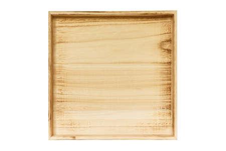 wooden box empty on white background.