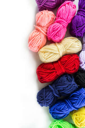 yarn many color top view on white background. Stok Fotoğraf
