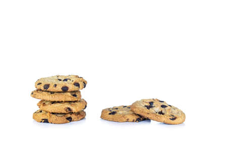 Chocolate cookie stacked on white background. Archivio Fotografico - 128962903