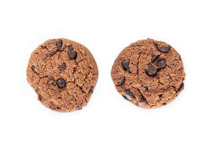 Chocolate cookies on white background. Archivio Fotografico - 128963283