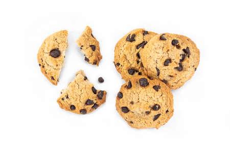Broken chocolate cookie on white background. Archivio Fotografico - 128963872