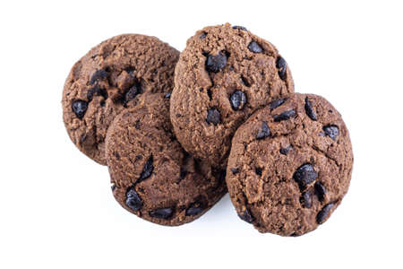 pile cookie chocolate on white background.
