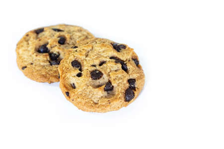 two cookie chocolate on white background.