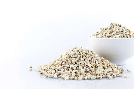 pile job's tear and white bowl on white background.