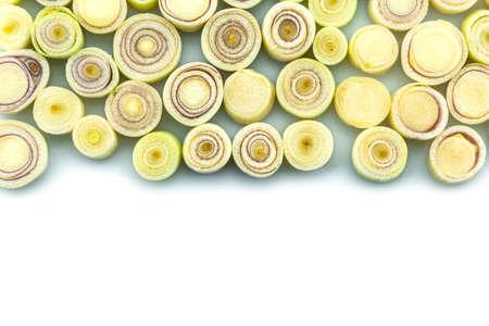 slice lemon grass on white background.