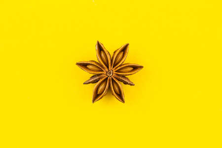 star anise on yellow background. Stock Photo - 145473884