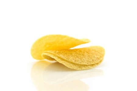 potato chips on white background. Reklamní fotografie
