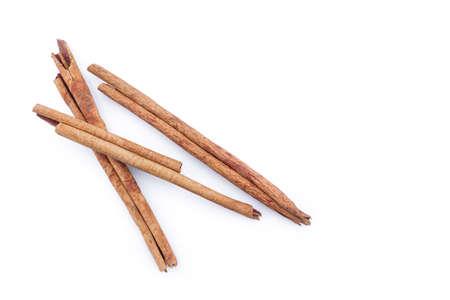 cinnamon on white background.