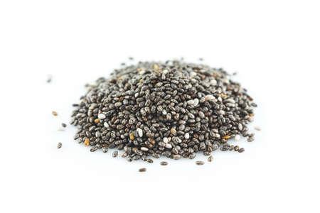 chia seeds on white background. Reklamní fotografie