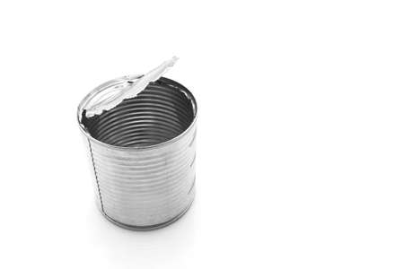open tin can recycle protect environment on white background.