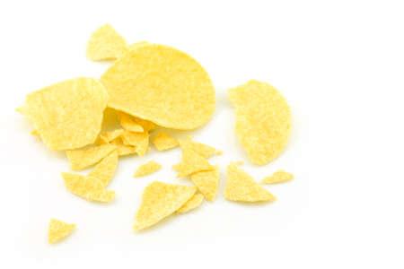 potato chips crack on white background. Stock Photo - 145473925
