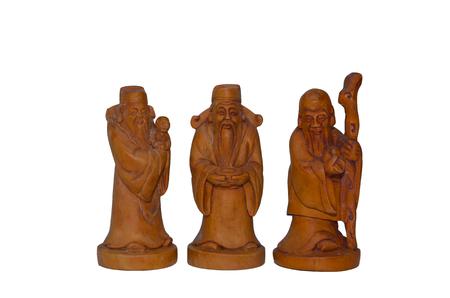 Wooden Fu Lu Shou statues, three Chinese lucky gods.