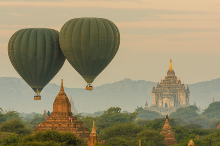 Hot Air Balloon over The Ancient Temples of Bagan(Pagan), Mandalay, Myanmar Stock Photo