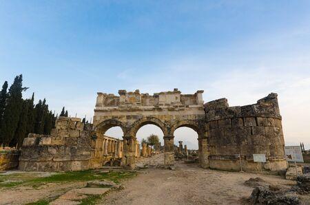 hierapolis: Domitian gate of anciet city of Hierapolis, Pamukkale, Turkey Stock Photo