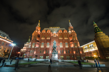 marshal: The State Historical Museum of Russia at night. Monument to Marshal Zhukov - the great Soviet military leader, Moscow, Russia