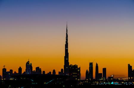 high rise buildings: Twilight scene of high rise buildings  in Dubai, UAE.