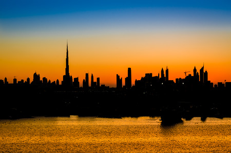 tallest: High rise buildings  in Dubai, UAE. Burj Khalifa, the tallest building in the world Stock Photo