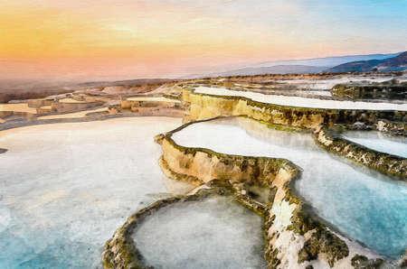 Carbonate travertines the natural pools during sunset, Pamukkale, Turkey Standard-Bild