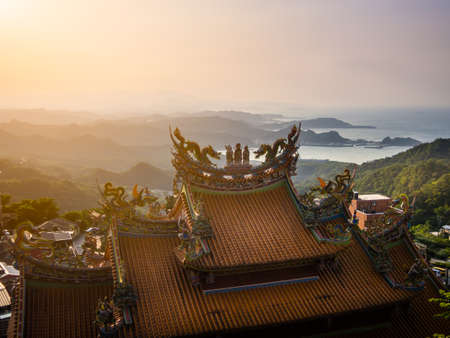 Temple in Taiwan over bueatiful view.
