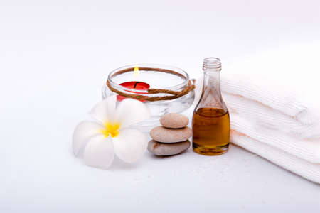 spa set on white background, Thai style of relaxation treatment, aroma and skin and muscle care or relaxation