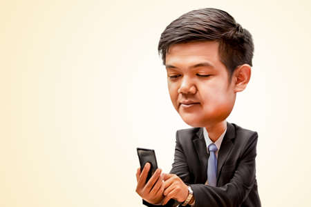 man holding smart phone and looking to screen, business man smiling and touching of smart phone, digital painting picture or 3D painting from picture