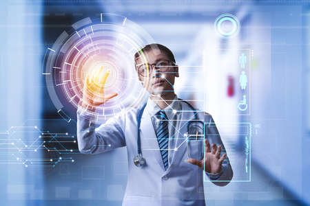 doctor holding hand on touch screen to calling digital patient data from server, digital medical technology concept, illustration screen or hologram technology Stock Illustration - 110846571