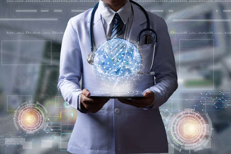 doctor holding digital device to show hologram with global connection or world wide connection, illustration medical technology Stock Illustration - 110846590