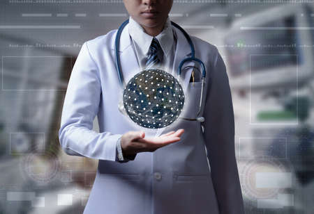 doctor holding hand show global connection or world wide connection, illustration medical technology