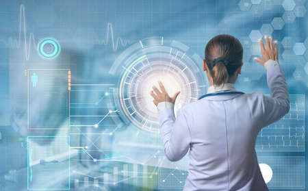 futuristic medical concept, modern doctor touching digital screen to see patient information, illustration touch screen button Stock Photo