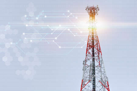 high cell tower, red and white signal tower in clearly sky day Stock Photo