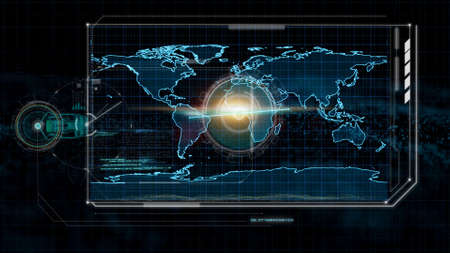 futuristic technology, hologram technology and hi tech monitor on black background, abstract background for overlay blending Banque d'images - 129515381