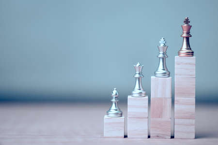 golden king chess at winner position on wooden cube of the chess game Stockfoto