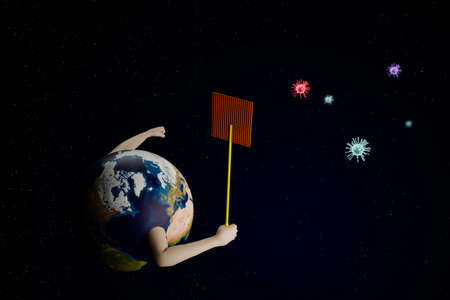 planet eart holding fly swatter to fighting corona virus 2019, earth fighting covid-19 flu, 3D illustration rendering